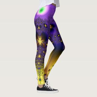Mariposas púrpuras y amarillas azules del fractal leggings