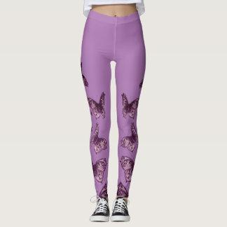 Mariposas reales del vintage de la lila leggings