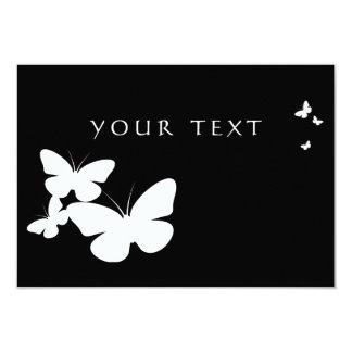 mariposas retras: blanco y negro invitación 8,9 x 12,7 cm