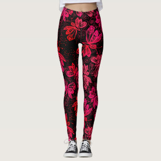 Mariposas rojas brillantes leggings
