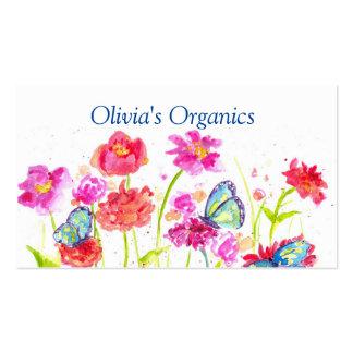 Mariposas rojas de los Wildflowers de la tarjeta Tarjetas De Visita