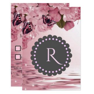 Mariposas rosadas de las flores de cerezo que invitación 8,9 x 12,7 cm