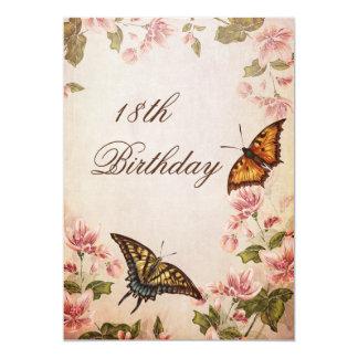 Mariposas y cumpleaños del flor de la almendra del invitación personalizada