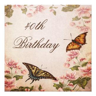 Mariposas y cumpleaños del flor de la almendra del comunicado