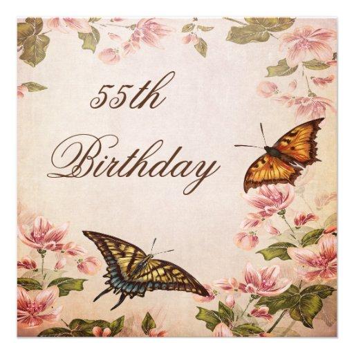 Mariposas y cumpleaños del flor de la almendra del invitacion personal