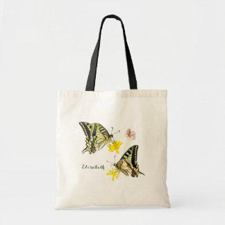 Mariposas y flores bonitas bolso de tela