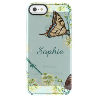 Mariposas y flores de cerezo personalizadas funda transparente para iPhone SE/5/5s