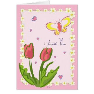 """Mariposas y flores """"te amo"""" tarjeta de"""