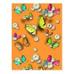 Mariposas y margaritas de Swallowtail Postal