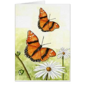 Mariposas y margaritas tarjeta de felicitación