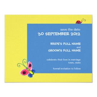 Mariposas y mariquitas que casan reserva la fecha invitación 10,8 x 13,9 cm