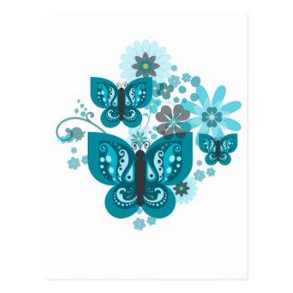 Mariposas y postal de las flores (azul) (retrato)