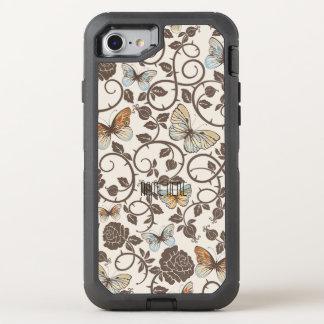 Mariposas y rosas en la crema funda OtterBox defender para iPhone 7