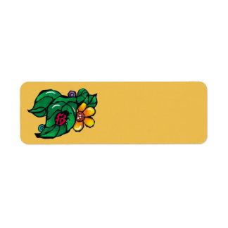 Mariquita adaptable e invitación amarilla de la etiqueta de remitente