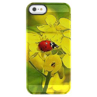 Mariquita amarilla del rojo de la buena suerte de funda transparente para iPhone SE/5/5s