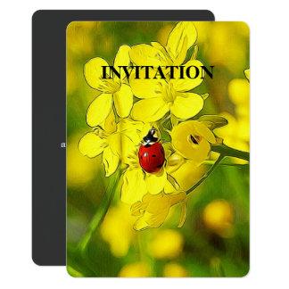 Mariquita amarilla del rojo de la buena suerte de invitación 12,7 x 17,8 cm