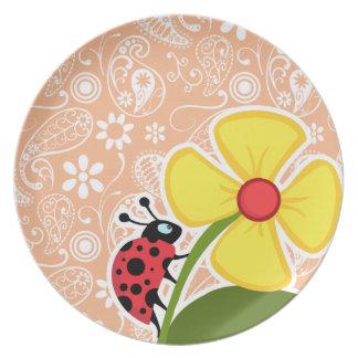 Mariquita Color Paisley del albaricoque Floral Platos Para Fiestas