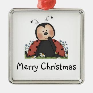 Mariquita de las Felices Navidad Adorno Cuadrado Plateado