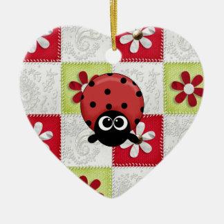 Mariquita del navidad adorno de cerámica en forma de corazón