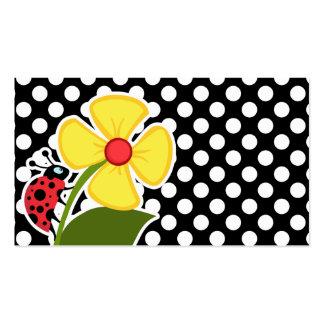 Mariquita en lunares blancos y negros plantillas de tarjeta de negocio