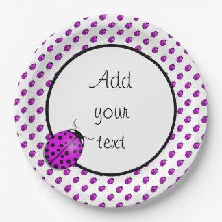 Mariquita en rosa/púrpura plato de papel