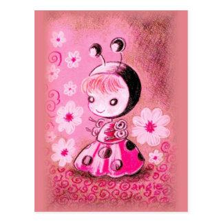 Mariquita en un vestido postal