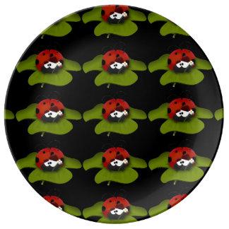 Mariquita en una hoja verde plato de cerámica
