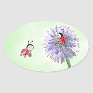 Mariquita flores pegatina saludo Oval