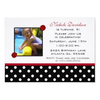 Mariquita: Invitaciones de la fiesta de cumpleaños Invitación 12,7 X 17,8 Cm