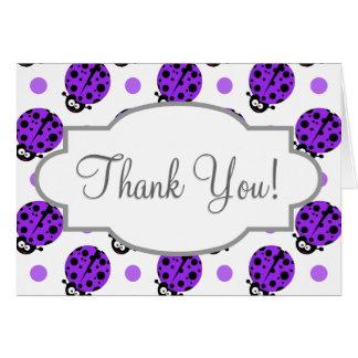 Mariquita linda, lunares púrpuras y blancos tarjeta pequeña