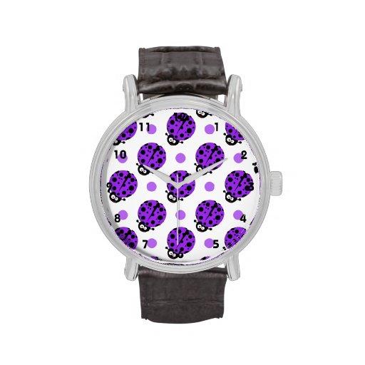 Mariquita linda, lunares púrpuras y blancos violet relojes