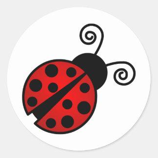 Mariquita linda - rojo y negro pegatina redonda