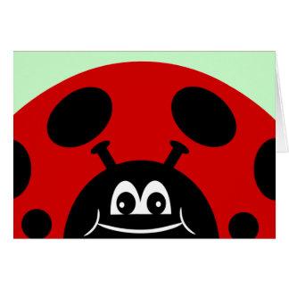 Mariquita roja y negra linda tarjeta de felicitación