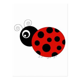 Mariquita roja y negra postal