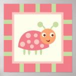 Mariquita rosada de los insectos lindos poster