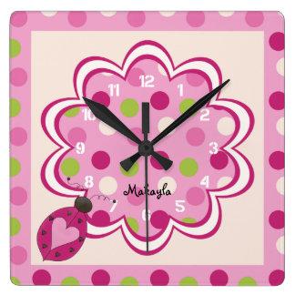 Mariquita rosada en el reloj de pared del cuarto d