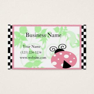 Mariquita rosada, frontera a cuadros y lunares tarjeta de negocios