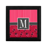 Mariquita rosada y negra elegante caja de recuerdo