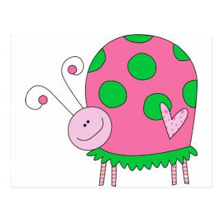Mariquita rosada y verde de Lil de muy buen gusto Postal