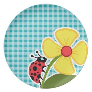 Mariquita y flor en la guinga azulverde plato para fiesta