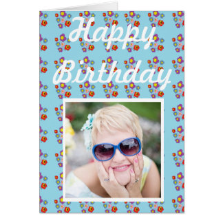 mariquita y flores - tarjeta de cumpleaños