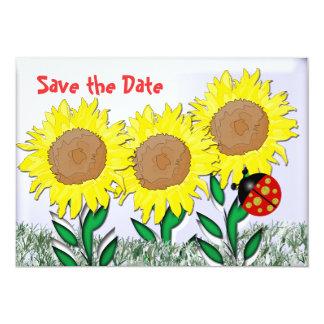 Mariquita y girasoles invitación 12,7 x 17,8 cm