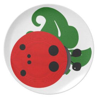 Mariquita y hoja platos de comidas