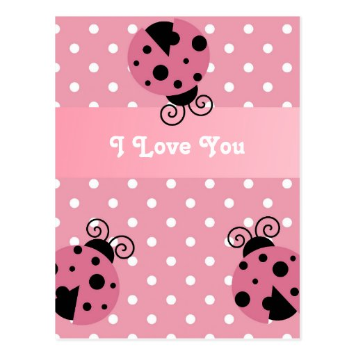 Mariquita y lunares rosados tarjeta postal