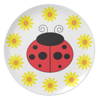 Mariquita y placa de las margaritas platos para fiestas