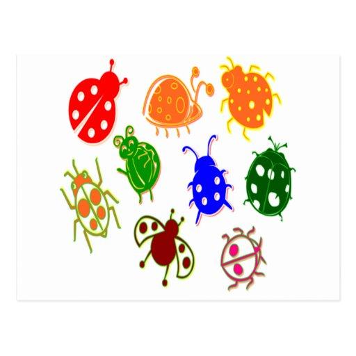 Mariquitas - coloridas postal