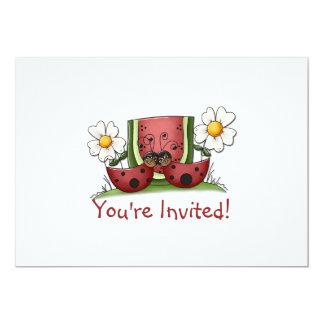 Mariquitas e invitación de la fiesta de cumpleaños