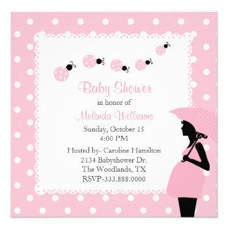 Mariquitas y fiesta de bienvenida al bebé rosadas anuncios