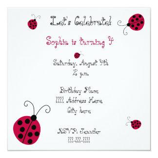 Mariquitas y flores invitación 13,3 cm x 13,3cm
