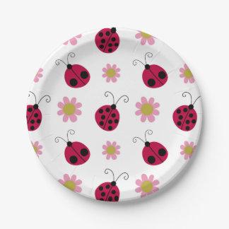 Mariquitas y flores lindas plato de papel
